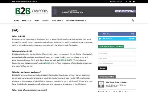 Screenshot of FAQ Page b2b-cambodia.com - FAQ Frequently Asked Questions | B2B CAMBODiA - captured July 17, 2016