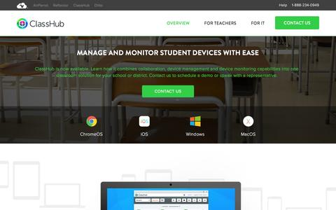 Screenshot of airsquirrels.com - ClassHub | Manage And Monitor Student Devices With Ease - captured March 2, 2017