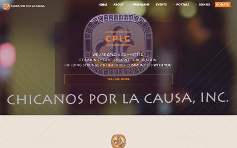 Screenshot of Home Page cplc.org - Chicanos Por La Causa - captured Oct. 10, 2015
