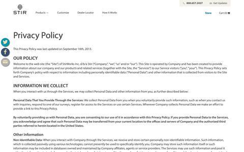 Screenshot of Privacy Page stirworks.com - Privacy Policy - Stir - captured Oct. 12, 2018