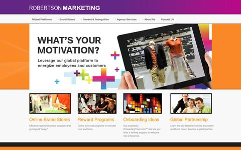 Screenshot of Home Page robertsonmarketing.com - :: Welcome to Robertson Marketing Group - Ecommerce - Fulfillment - Rewards - Loyalty -  Brand Merchandising - Roberston Marketing.::  - Home - captured Aug. 14, 2016