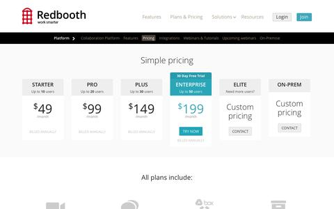 Screenshot of Pricing Page redbooth.com - Redbooth Plans and PricingRedbooth - captured Oct. 28, 2014