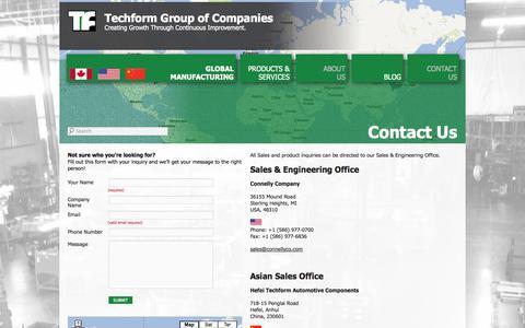 Screenshot of Contact Page techform.com - Contact Us | Techform Group of Companies - captured Oct. 9, 2014