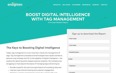 Screenshot of Landing Page ensighten.com - Boost Digital Intelligence with Tag Management | Registration - captured June 14, 2016