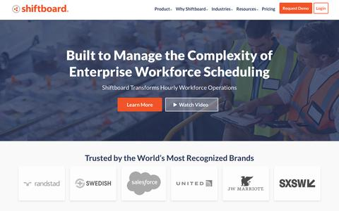 Screenshot of Home Page shiftboard.com - The Leader in Enterprise Workforce Scheduling Software | Shiftboard - captured Feb. 6, 2019