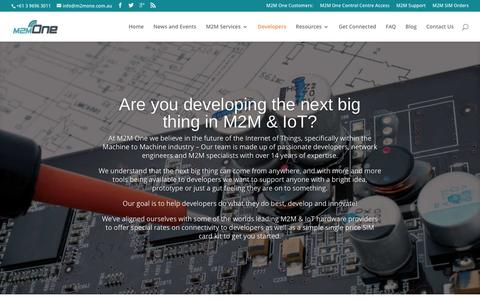 Screenshot of Developers Page m2mone.com.au - Solutions for M2M and IoT Developers | M2M One Australia - captured Dec. 19, 2015
