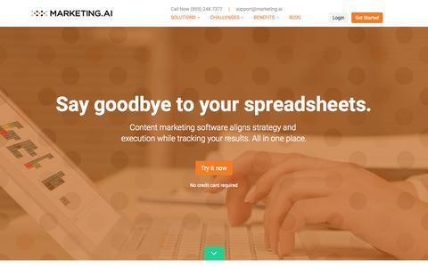 Screenshot of Home Page marketing.ai - Content Marketing Software and Content Marketing Framework - Marketing.AI - captured Oct. 1, 2015