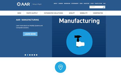 Screenshot of Home Page aarcorp.com - AAR CORP.: Aviation Services, MRO, Airlift, Mobility Systems, Cargo, Aerostructures | AAR Corporate - captured July 18, 2018