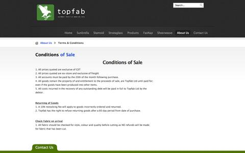 Screenshot of Terms Page topfab.co.nz - Conditions of Sale   Information - captured Feb. 17, 2016