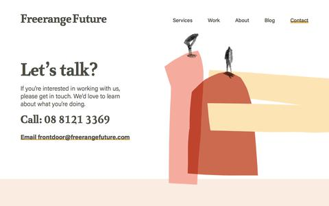 Screenshot of Contact Page freerangefuture.com - Contact Us | Freerange Future - captured Nov. 5, 2019