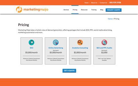 Screenshot of Pricing Page marketing-mojo.com - Pricing - Marketing Mojo - captured Oct. 13, 2016