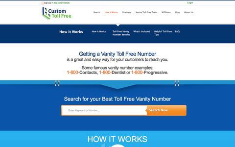 Screenshot of FAQ Page customtollfree.com - How It Works - Custom Toll Free - captured Dec. 14, 2015