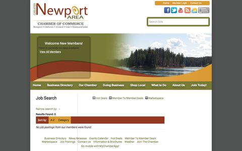 Screenshot of Jobs Page newportareachamber.com - Job Search - Greater Newport Area Chamber of Commerce, WA - captured Feb. 2, 2016
