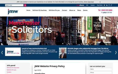 Screenshot of Privacy Page jmw.co.uk - JMW :: Privacy & Cookies - captured Oct. 10, 2014