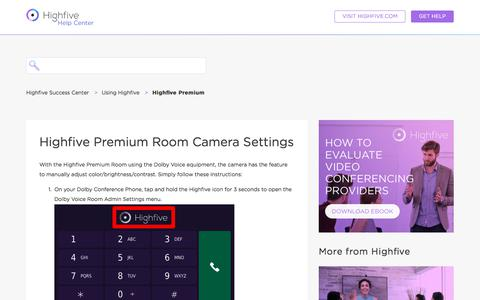 Screenshot of Support Page highfive.com - Highfive Premium Room Camera Settings – Highfive Success Center - captured Oct. 9, 2019