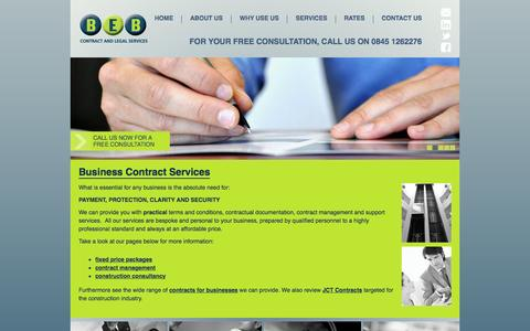 Screenshot of Services Page bebconsultancy.co.uk - Business Contracts Services Northampton - captured Feb. 7, 2016