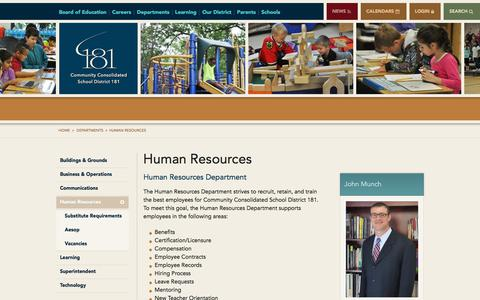 Screenshot of Jobs Page d181.org - Human Resources - Community Consolidated School District 181 - captured Aug. 17, 2017