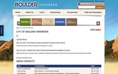 Screenshot of Press Page bouldercolorado.gov - City of Boulder Newsroom - captured Sept. 24, 2014