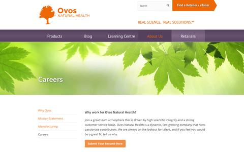 Screenshot of Jobs Page ovos.ca - Careers - Ovos Natural Health - captured Oct. 6, 2014