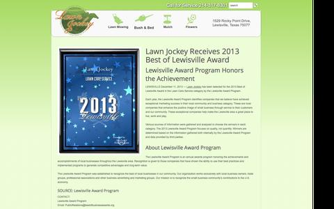 Screenshot of About Page yourlawnjockey.com - About Us | Lewisville Lawn Care Flower Mound Lawn Care Highland Village Lawn Care Service - captured Nov. 1, 2014