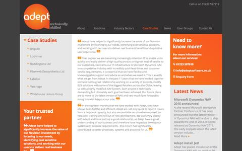 Screenshot of Case Studies Page adeptsoftware.co.uk - Case Studies | Adept Software - captured Oct. 4, 2014