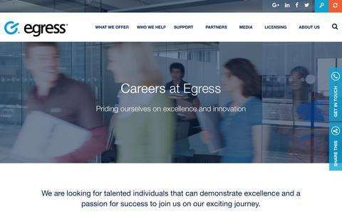 Screenshot of Jobs Page egress.com - Careers | Egress Software Technologies - captured July 3, 2016