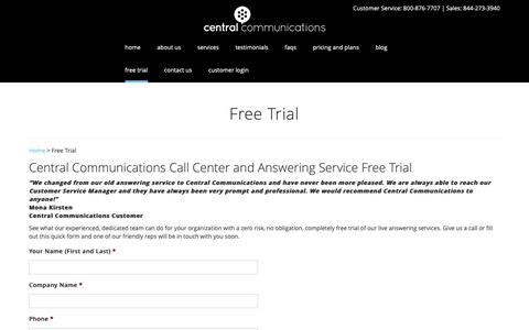 Screenshot of Trial Page centralcomm.com - Free Trial  | Answering Service - captured Dec. 14, 2018