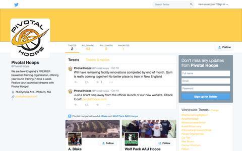 Screenshot of Twitter Page twitter.com - Pivotal Hoops (@PivotalHoops)   Twitter - captured Nov. 3, 2014