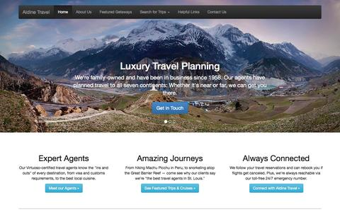 Screenshot of Home Page aldinetravel.com - A St. Louis Luxury Travel Agency · Aldine Travel - captured Sept. 30, 2014