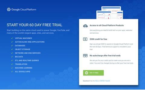 Screenshot of Trial Page google.com - Sign Up For Your Free Trial | Google Cloud Platform - captured Nov. 28, 2016