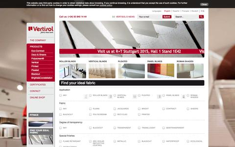 Screenshot of Products Page vertisol.es - Vertisol, Fabrics that work :Polyscreen and fabric manufacturer - captured Oct. 11, 2014