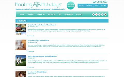 Screenshot of Press Page healingholidays.co.uk - News   Healing Holidays - captured Sept. 29, 2014