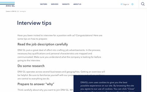 Screenshot of Jobs Page dnvgl.com - Interview tips - DNV GL - captured Dec. 7, 2019