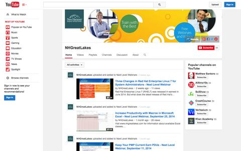 Screenshot of YouTube Page youtube.com - NHGreatLakes  - YouTube - captured Oct. 26, 2014