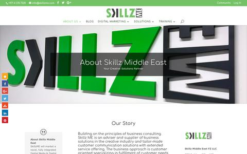 Screenshot of About Page skillzme.com - About Skillz Middle East the Creative Experts in Middle East - captured Oct. 21, 2017
