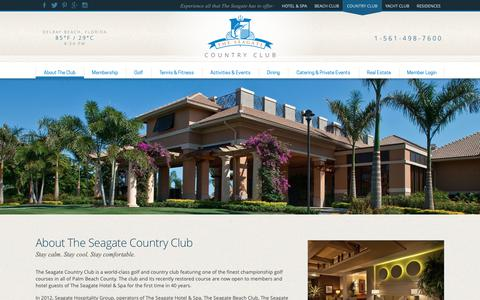 Screenshot of About Page seagategolf.com - Country Clubs in Delray Beach | The Seagate Country Club, Delray Beach, FL - captured Sept. 27, 2018