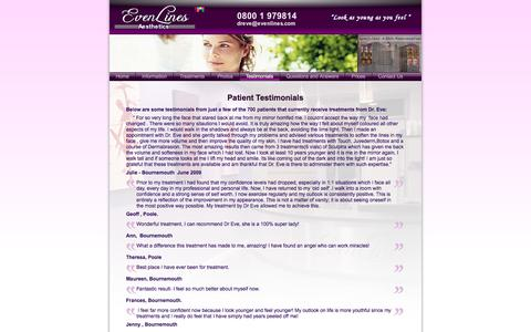 Screenshot of Testimonials Page evenlines.com - Evenlines - Leaders in Facial Rejuvenation - Patient Testimonials - captured Jan. 31, 2016
