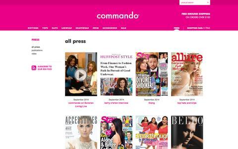Screenshot of Press Page wearcommando.com - commando® — Press - captured Oct. 1, 2014