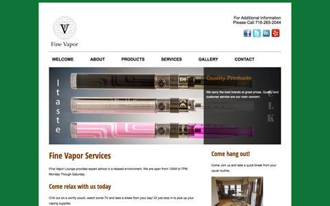 Screenshot of Services Page finevaporstore.com - Fine Vapor: Services - captured Oct. 6, 2014