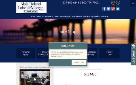 Screenshot of Site Map Page floridalegalrights.com - Site Map | Fort Myers, Florida Personal Injury Attorney | Aloia, Roland, Lubell & Morgan, PLLC - captured Oct. 3, 2018