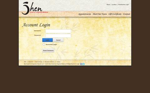 Screenshot of Login Page shencenterny.com - Shen Center for Integrated Medicine: Acupuncture, Herbalists, Massage Therapy | New York > Practitioners Login - captured Oct. 4, 2014