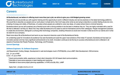 Screenshot of Jobs Page bunkerbound.net - Web Design and Development Solutions for Growing Businesses - captured Dec. 1, 2018