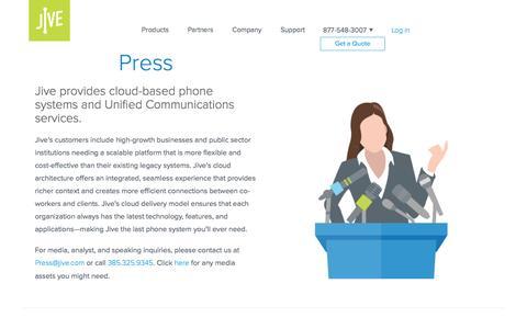 Screenshot of Press Page jive.com - Press - Jive Communications - captured May 5, 2017