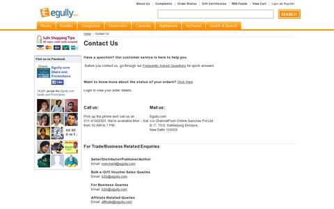 Screenshot of Contact Page egully.com - Contact Us - captured July 19, 2014