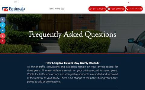 Screenshot of FAQ Page peninsulageneral.com - FAQ'S - Peninsula General Insurance Agency - captured July 18, 2017