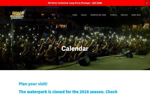 Screenshot of Hours Page splashkingdom.net - Calendar — Splash Kingdom Waterpark: The Beach within Reach! - captured Oct. 19, 2018