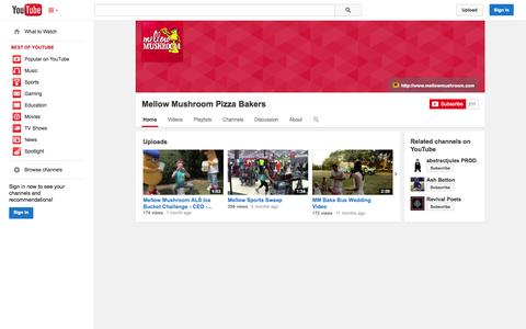Screenshot of YouTube Page youtube.com - Mellow Mushroom Pizza Bakers  - YouTube - captured Oct. 23, 2014