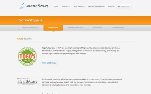 Screenshot of Case Studies Page mainsailpartners.com - Case Studies | Mainsail Partners - captured Sept. 24, 2014
