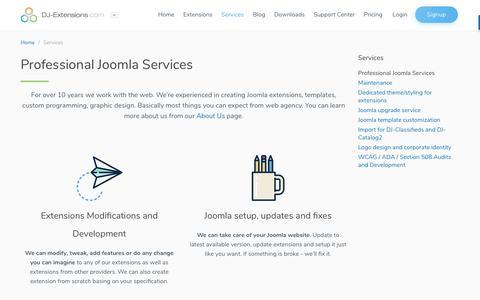 Screenshot of Services Page dj-extensions.com - Services ● DJ-Extensions.com ● Best Joomla Extensions - captured Nov. 6, 2018