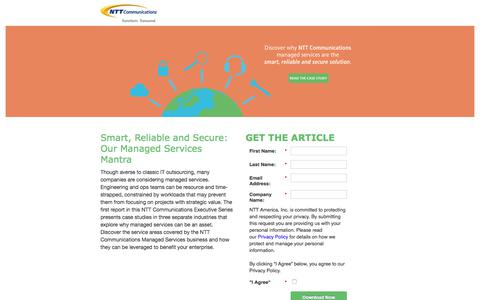 Screenshot of Landing Page ntt.com - NTT Communications - Managed Services: More than Outsourcing - captured Sept. 19, 2018